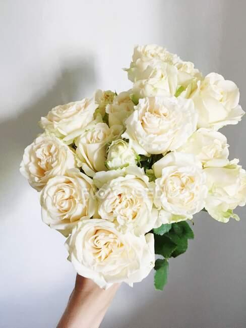 Mulher segurando um buquê de rosas brancas — Fotografia de Stock