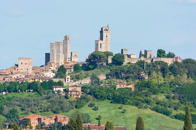 Townscape, San Gimignano, Siena, Toscana, Italia - foto de stock