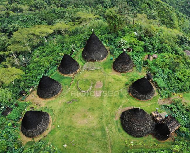 Aerial view of Wae Rebo Village, Flores, East Nusa Tenggara, Indonesia — Stock Photo