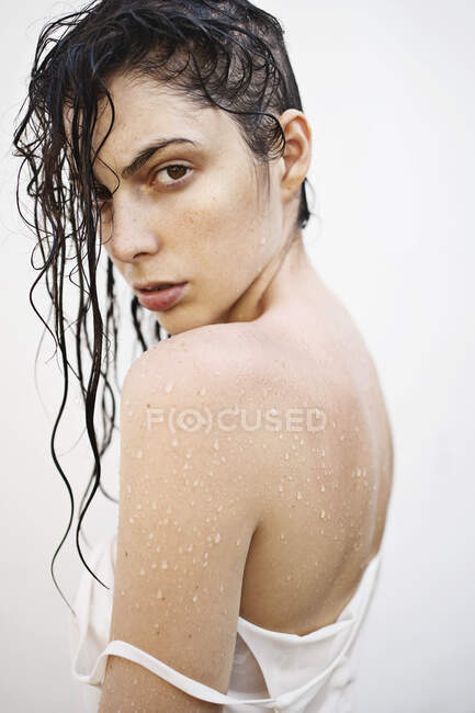 Portrait of a beautiful Young woman with wet hair — Stock Photo