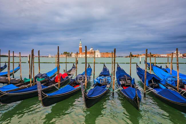 Gondolas lined up at St Mark's Square, Venice, Veneto, Italy — Stock Photo