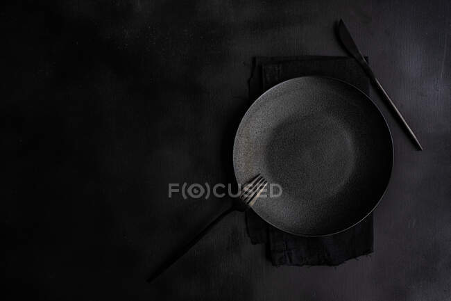 Overhead view of a place setting on a table — Stock Photo