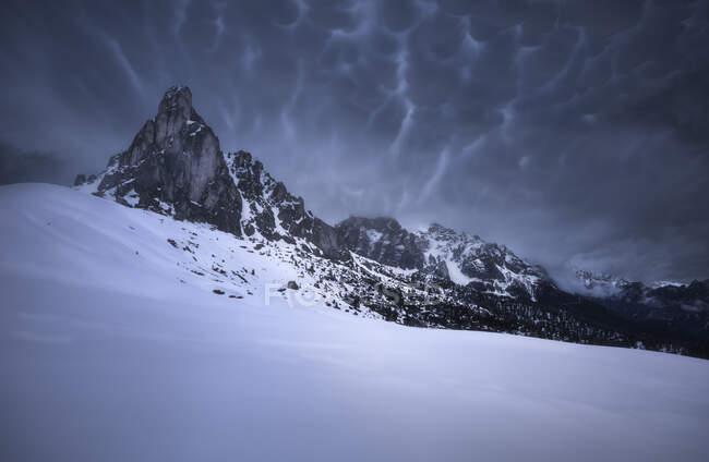 Mount Ra Gusela in the snow, Italy — Stock Photo