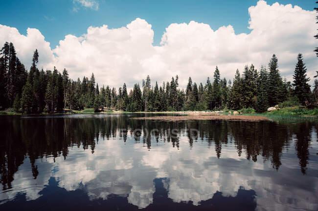 Riflessioni forestali e nuvolose in un lago, Kings Canyon, Sequoia National Park, California, USA — Foto stock