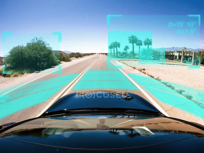 Auto conducción autónoma conducción en mal tiempo, Estados Unidos - foto de stock