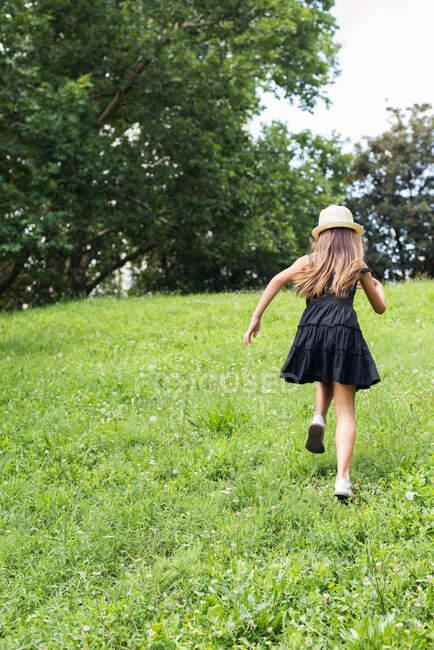 Девушка, бегущая по лугу летом, Болгария — стоковое фото