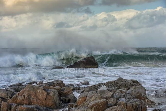 Stormy beach landscape, Myrland, Lofoten, Nordland, Norvegia — Foto stock
