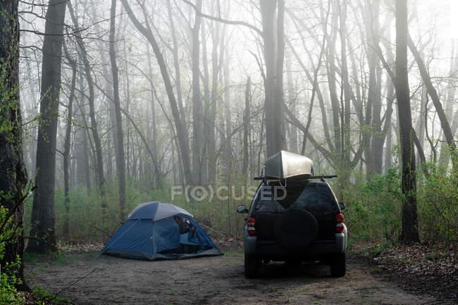 Abgestelltes Auto neben einem Zelt im Wald, Fort Custer State Recreational Area, Indiana, Vereinigte Staaten — Stockfoto
