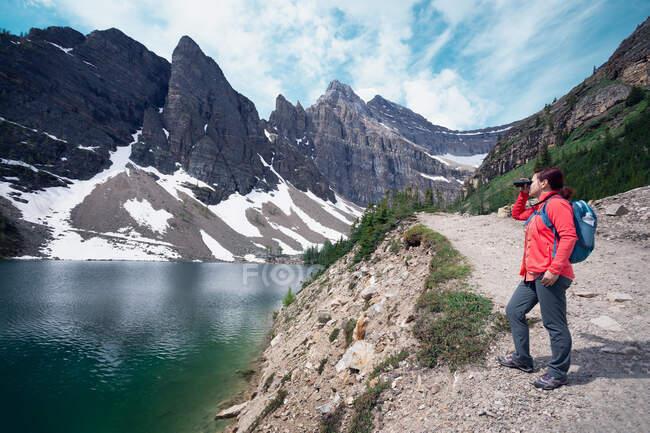 Femme regardant à travers des jumelles sur un sentier entre Lake Louise et Lake Agnes, parc national Banff, Alberta, Canada — Photo de stock