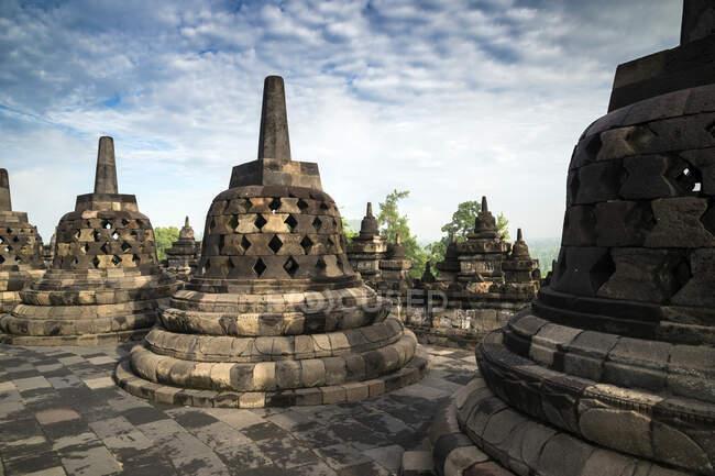 Stupas at the Temple of Borobudur, Magelang, East Java, Indonesia — стокове фото