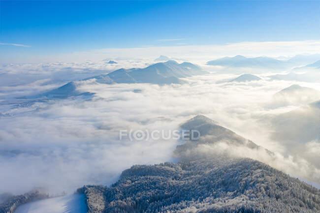 Veduta aerea delle montagne innevate, Gaisberg, Salisburgo, Austria — Foto stock