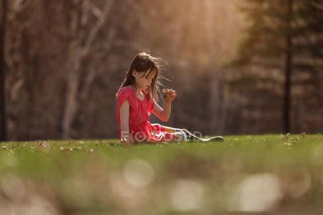 Дівчинка сидить на траві (США). — стокове фото