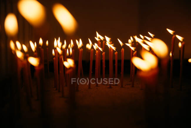 Close-up of candles in a church — Stock Photo