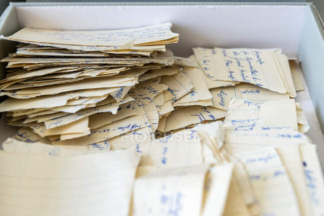 Torn Stasi documents in a box, Berlin, Germany — Stock Photo
