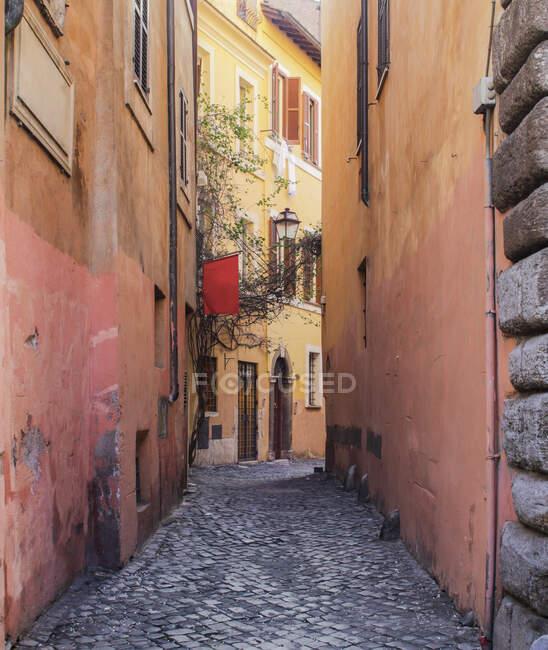 Calle adoquinada estrecha, Roma, Lacio, Italia - foto de stock