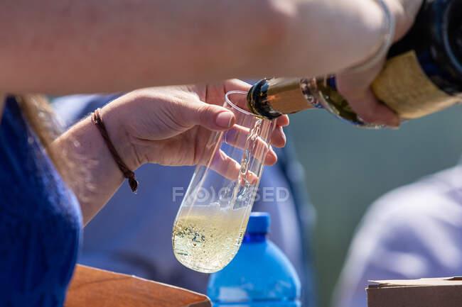 Жінка виливає шампанське у скло на городній вечірці. — стокове фото