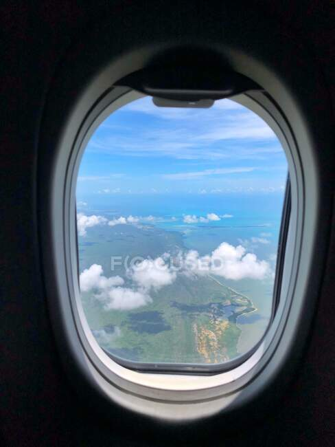 View of Cancun through an aircraft window, Quintana Roo, Mexico — Stock Photo