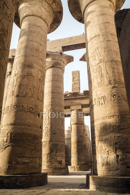 Great Hypostyle Hall, Temples of Karnak, Karnak, Luxor, Egypt — Stock Photo