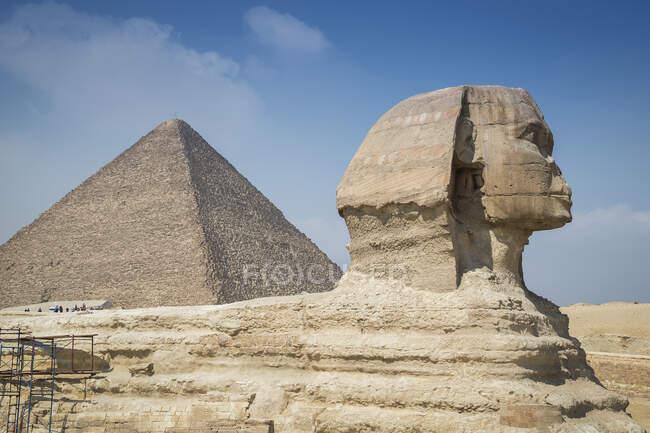 Vista de la gran Esfinge, Giza cerca de El Cairo, Egipto - foto de stock