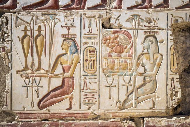 Ієрогліфи, храм Рамеса II, Абідос, Єгипет — стокове фото