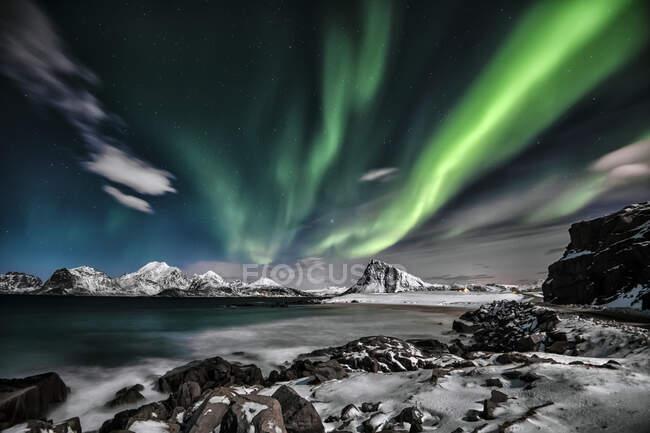 Northern lights, Lofoten, Nordland, Norway — Stock Photo
