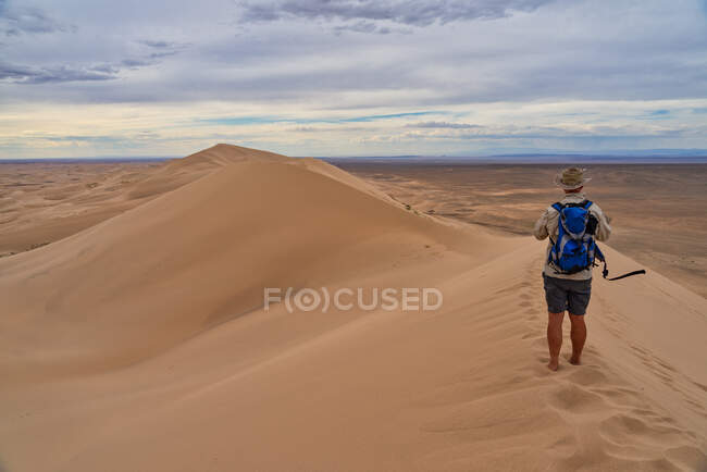 Uomo escursionista in piedi nella scena del deserto, deserto del Gobi, Mongolia — Foto stock