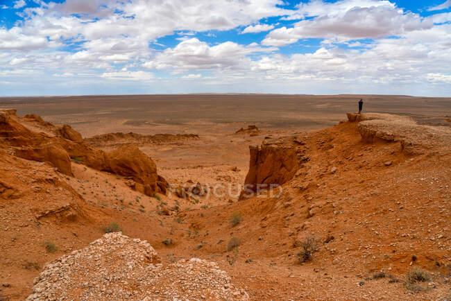 Hombre parado en el desierto tomando una foto, Flaming Cliffs, Desierto de Gobi, Bulgan, Mongolia - foto de stock