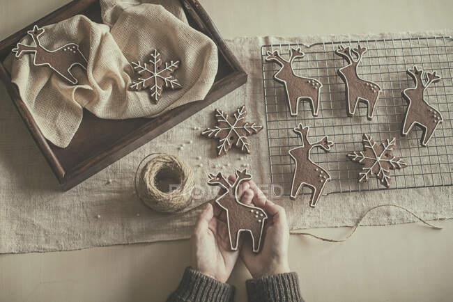 Las manos de una mujer sosteniendo una galleta de Navidad - foto de stock