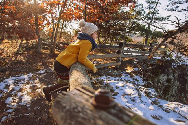 Ragazza appoggiata a una recinzione di legno in tardo autunno, Stati Uniti — Foto stock