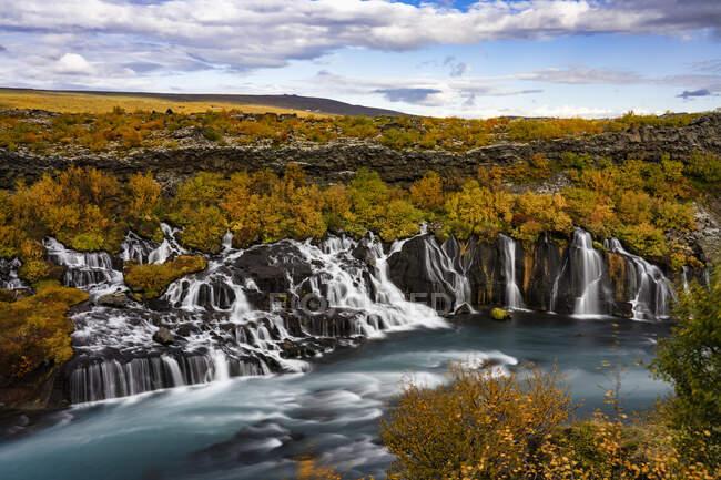 Hraunfossar waterfall, West Iceland — Stock Photo