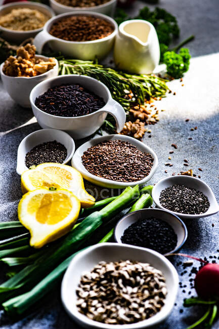 Cooking concept with organic and healthy ingredients on concrete background — Stock Photo