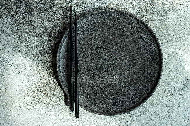 Modern simply place setting on stone  background with copy space — Stock Photo