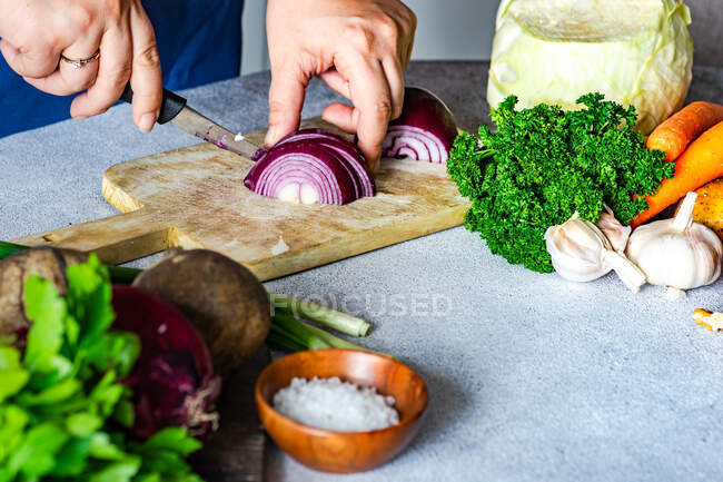 Woman cutting red onion on the board as a cooking concept — Stock Photo