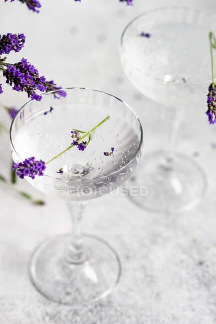 Окуляри з лимонного джину та лавандові квіти на столі. — стокове фото