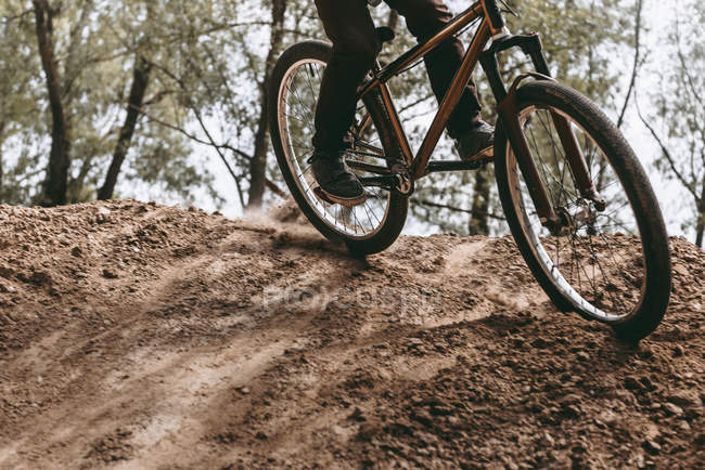 Immagine ritagliata di corridore in sella mountain bike — Foto stock